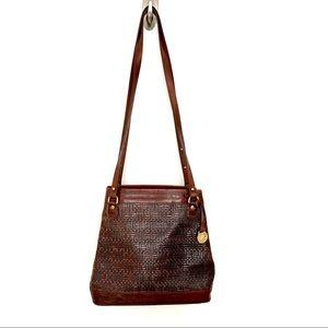 Brahmin Vintage Basket Weave Leather Shoulder Bag